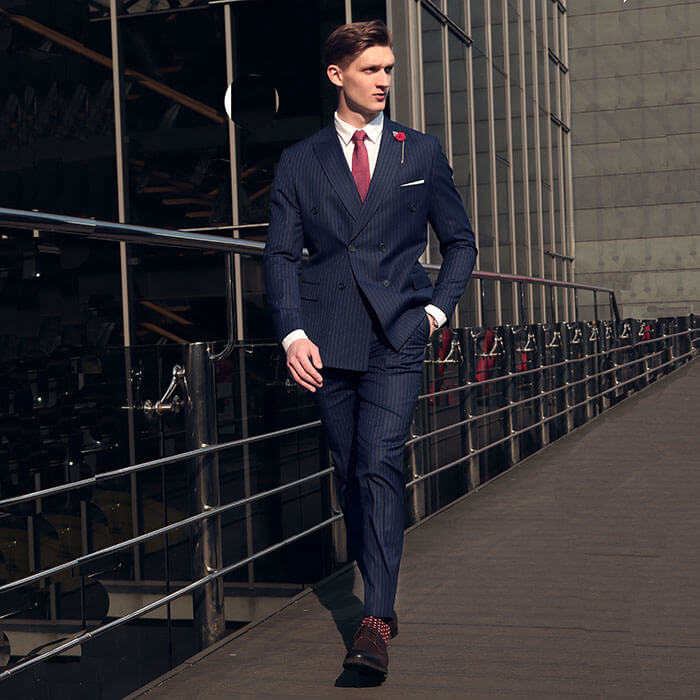 Men's blue double-breasted suit